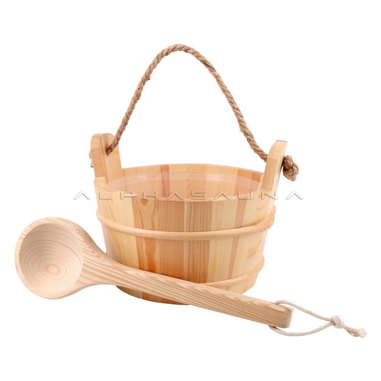 Wooden sauna shower bucket and wooden spoon