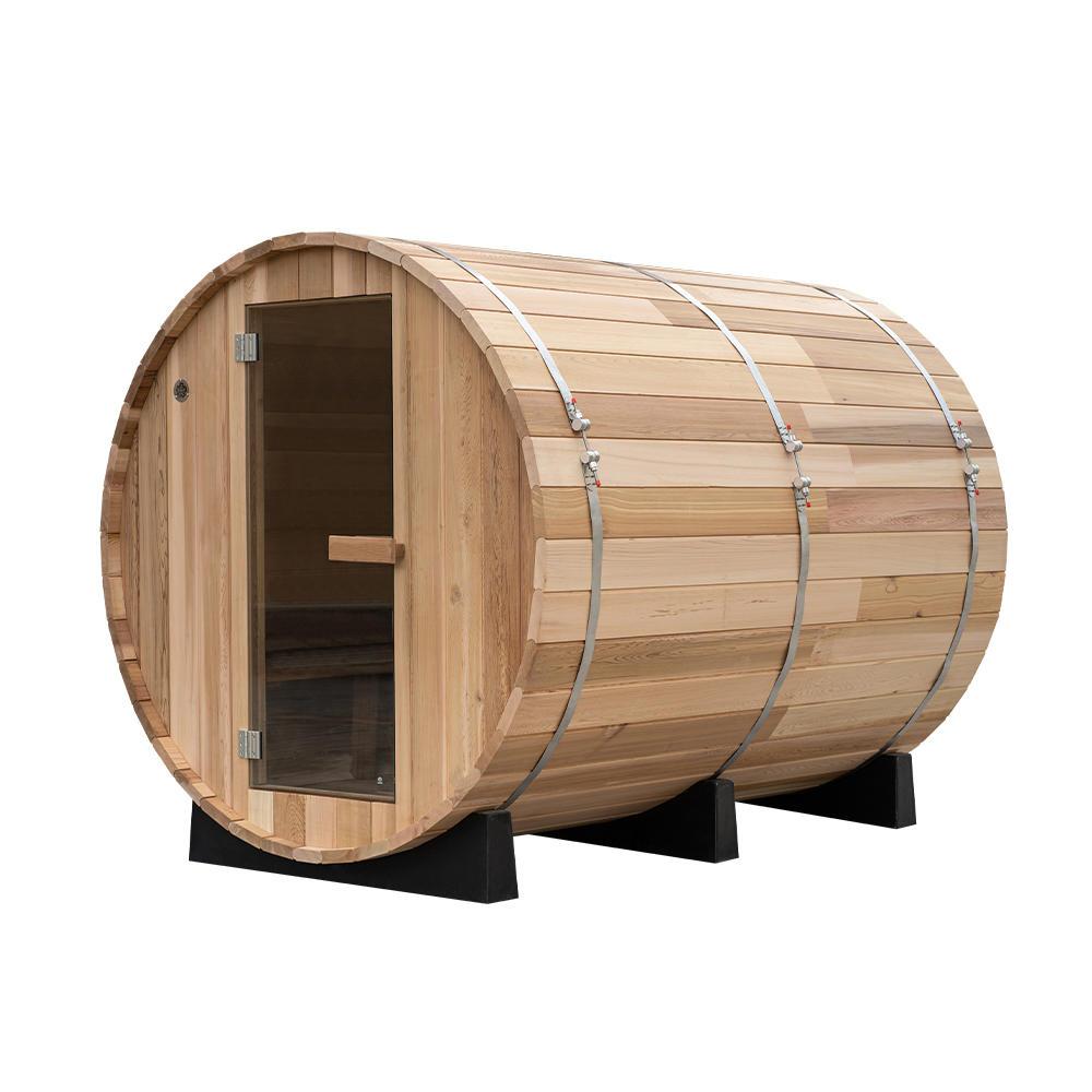 New cedar wood outdoor barrel sauna with outdoor pavilion