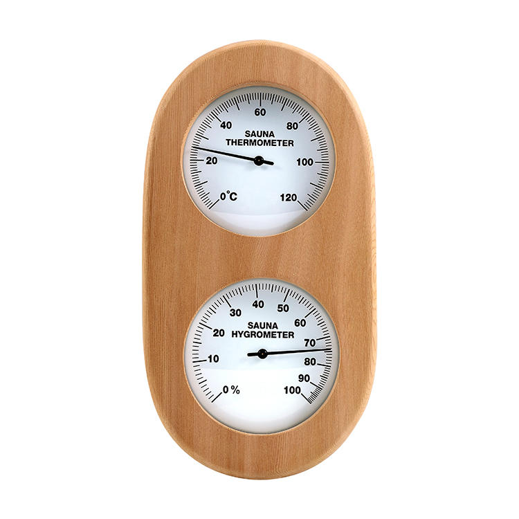 Cedar ellipse thermometer and hygrometer (style, color customized)