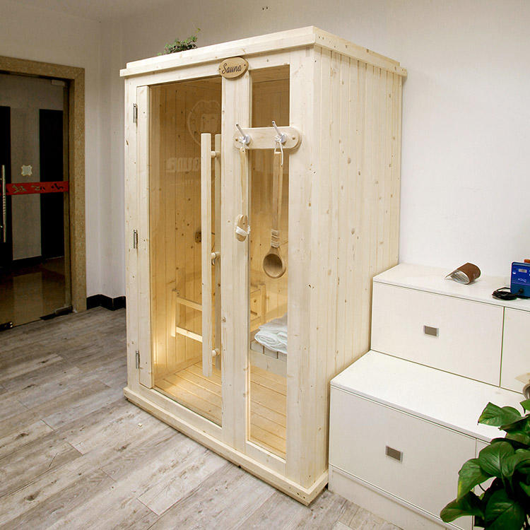 Indoor Sauna Room Solid Wood  With 38MM Thickness panel No Chemical Insulation 1800*1200*2100(L*W*H)