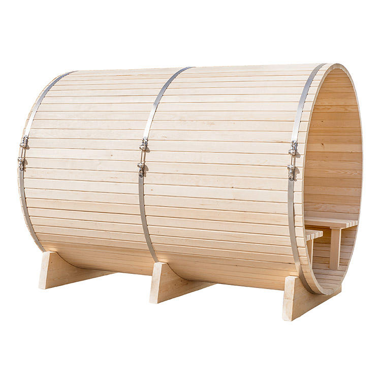 Barrel Outdoor Sauna With Harvia Electrical Heater 4-6 Person Hemlock