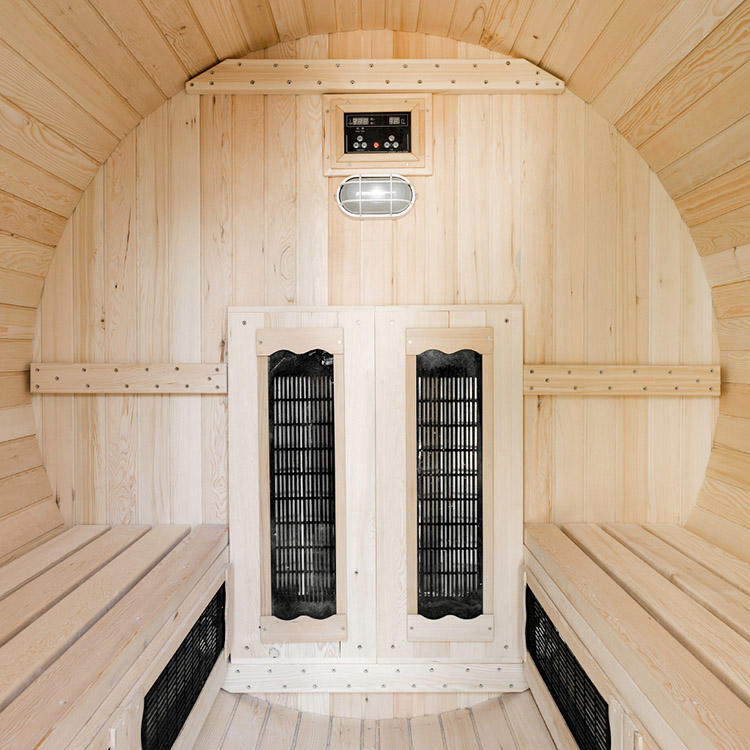 Infrared outdoor barrel sauna room Hemlock