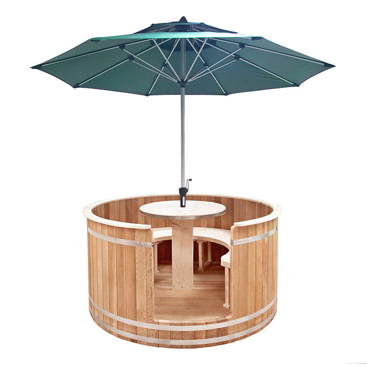 Barrel solid Outdoor coffee table With Outdoor umbrella