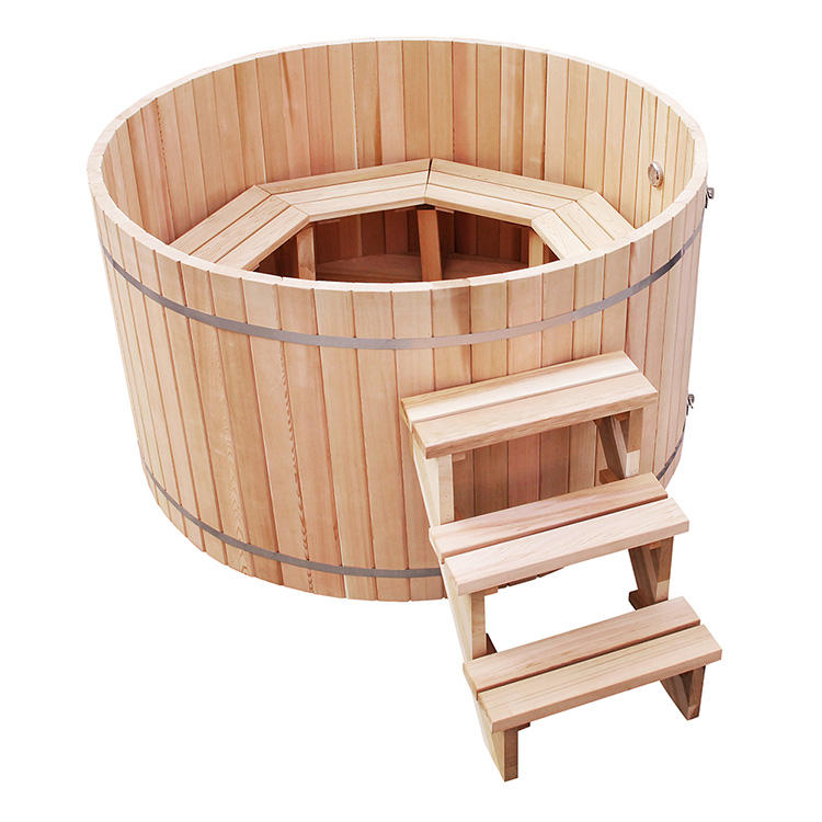 wooden Hot Tub With External Fired Stove heater Canadian A Glass Red cedar