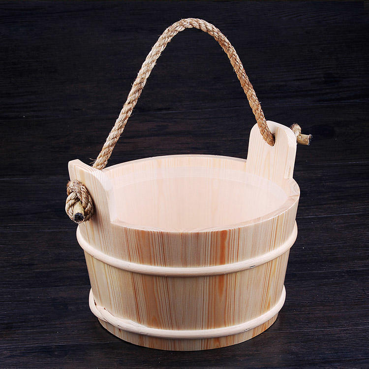 Sauna Bucket And Ladle 5L With Plastic  Linner, Strong Rope Handle