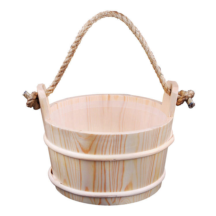 Sauna Pail And Ladle 6L Rope Handle Red Cedar/ Aspen/ Pine With Plastic Liner