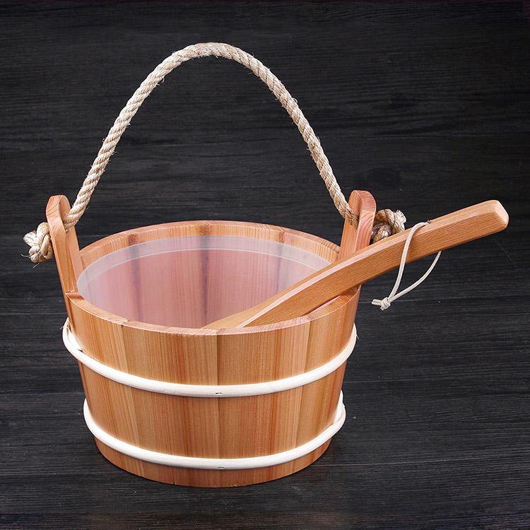 Sauna Pail And Ladle 4L Red Cedar/ Spruce/Aspen Set Including Plastic Linner