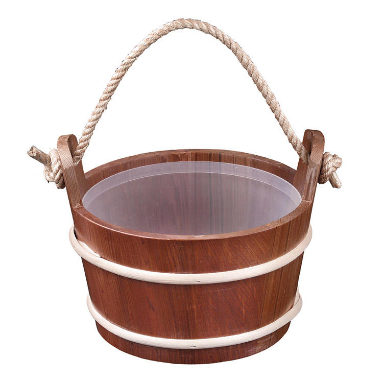 Rope Sauna Pail And Ladle 6L Red Cedar/Spruce/ Aspen With Plastic Linner