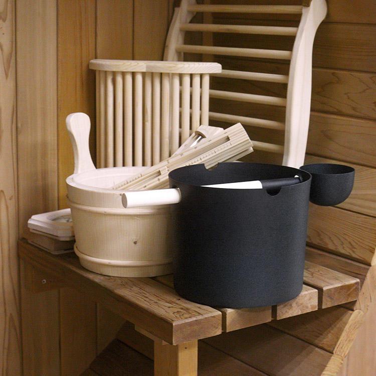 Aluminium Sauna Bucket & Ladle 5L Black/White/ With Bamboo Handle Set
