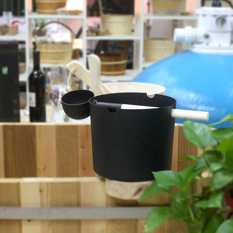 Aluminium Sauna Bucket 5L And Ladle With Black/White Paiting Alphasauna