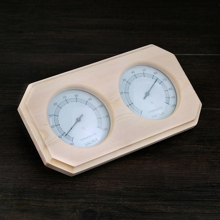 1.Sauna Thermometer Hygrometer Oblong Shape Finnish White Pine Dial Golden Instrument