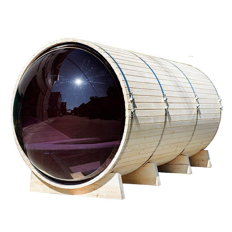 Outdoor Barrel Sauna with Panoramic View 7-8 Person, Front Porch Canopy, 9 kW, ce-certified, Heater