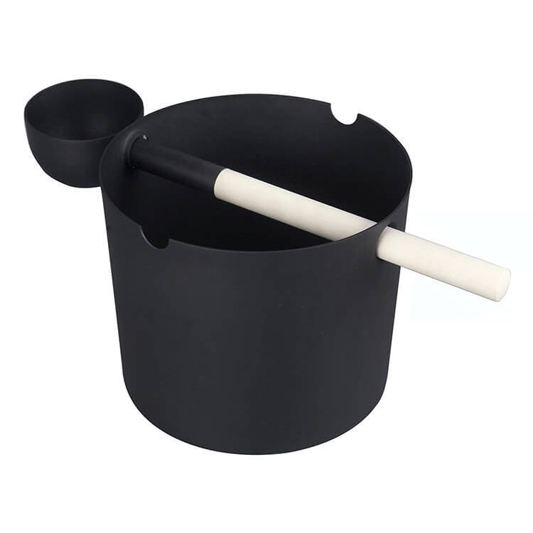 Aluminium Sauna Bucket 5L And Ladle With Black/White Paiting Alphasauna