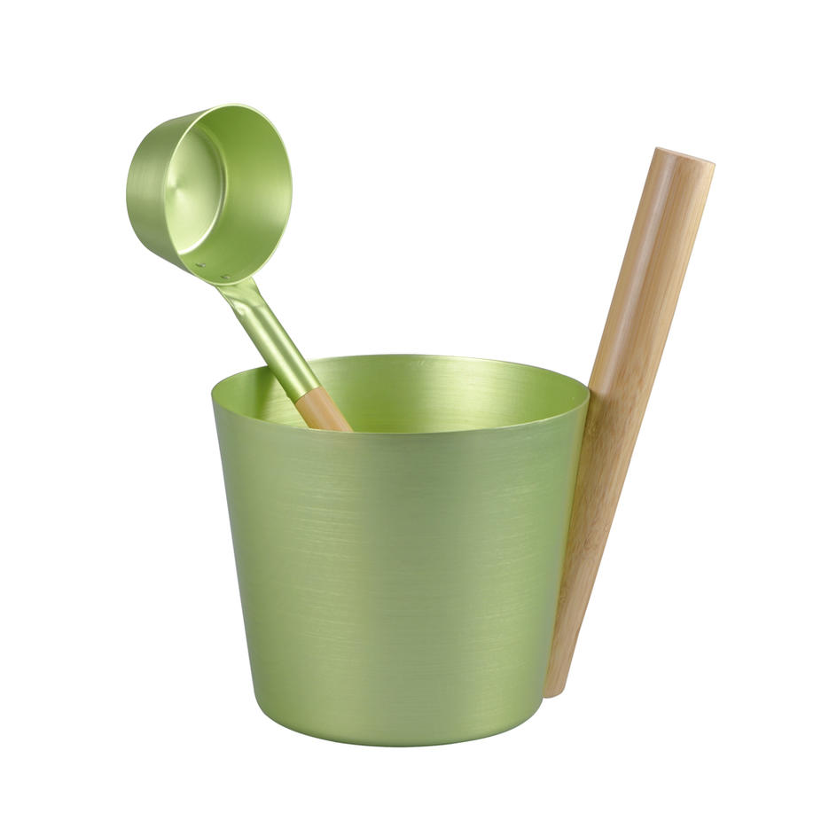 Alphasauna Aluminum Bucket and bamboo Ladle Birch Green