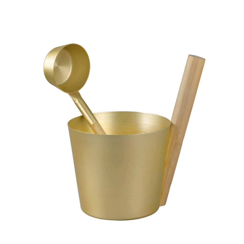 Alphasauna Multicolor Anodize Sauna Bucket And Spoon With Bamboo Handle