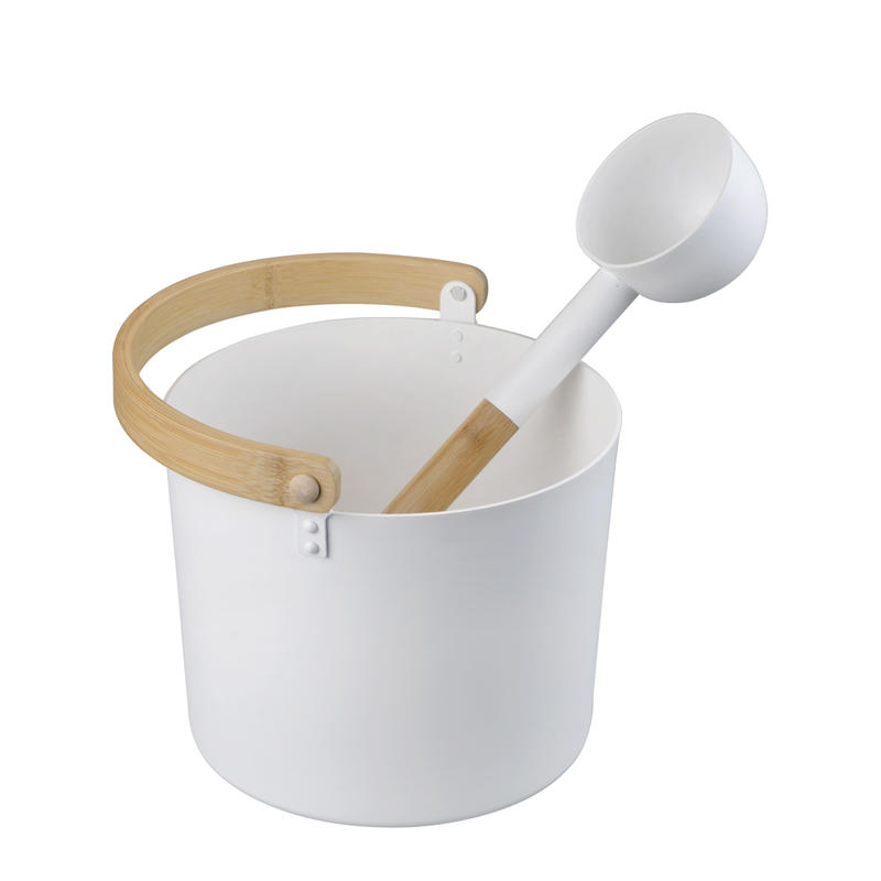 Alphasauna White Painting Aluminume Bucket And Ladle