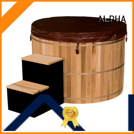 red wooden hot tub ALPHA