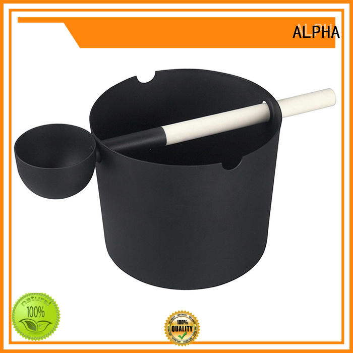 Aluminium Sauna Bucket & Ladle 5L Black/White/ With Bamboo Handle Set