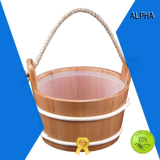 Rope Sauna Pail And Ladle 5L Red Cedar/Spruce/Aspen With Plastic Linner