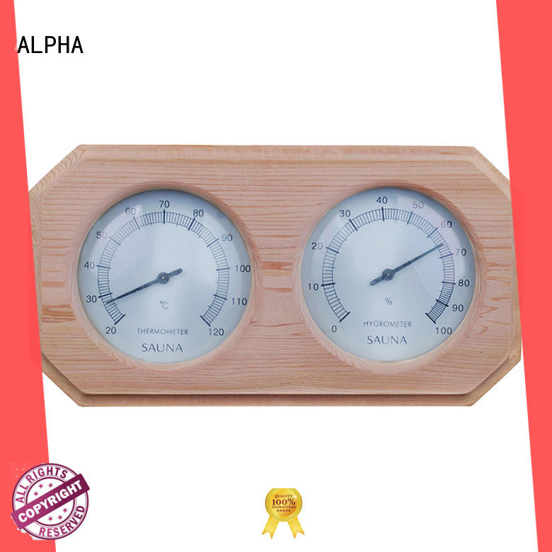 ALPHA pine sauna thermometer hygrometer from China for bathroom